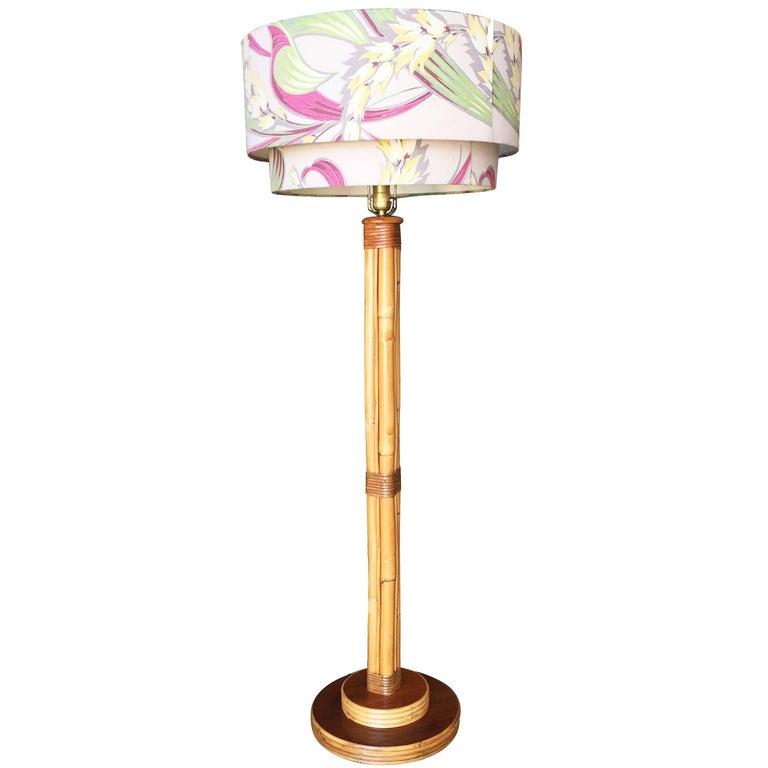 Mid-Century Bent Rattan Pole Floor Lamp with Original Shade