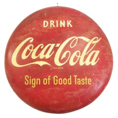 """36"""" Coca Cola """"Sign of Good Taste"""" Enameled Button Sign, circa 1953"""