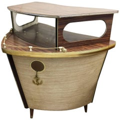 Mid-Century Novelty Yacht Bow Cocktail Bar by Barget of London