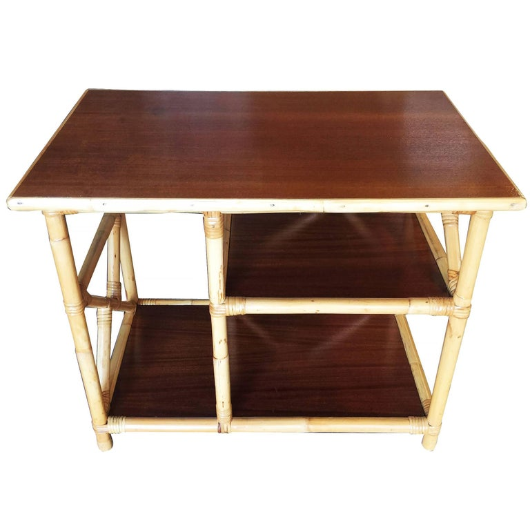 Restored Mahogany and Rattan Three-Tier Side Table