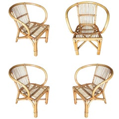 Mid-Century Swoop Armchair Stick Rattan, Set of Six