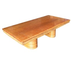 Large Rectangle Rattan Coffee Table with Mahogany Top and Stacked Base