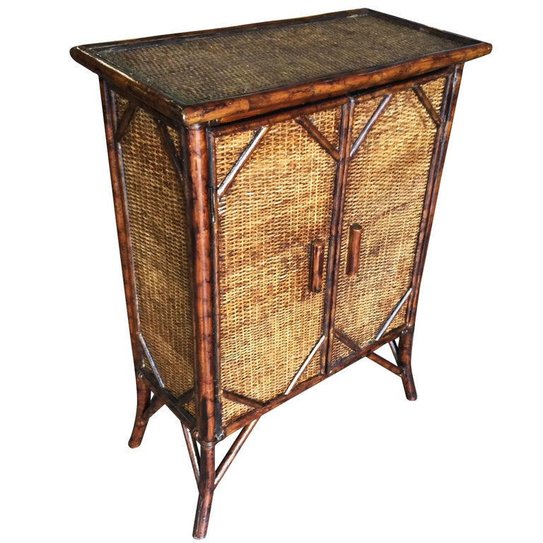 Restored Tiger Bamboo Cabinet with Rice Mat Covering