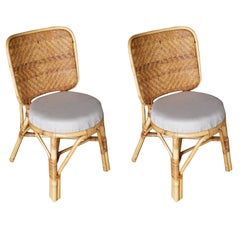 Restored Mid-Century Rattan Side Chair with Large Wicker Fan Back, Pair