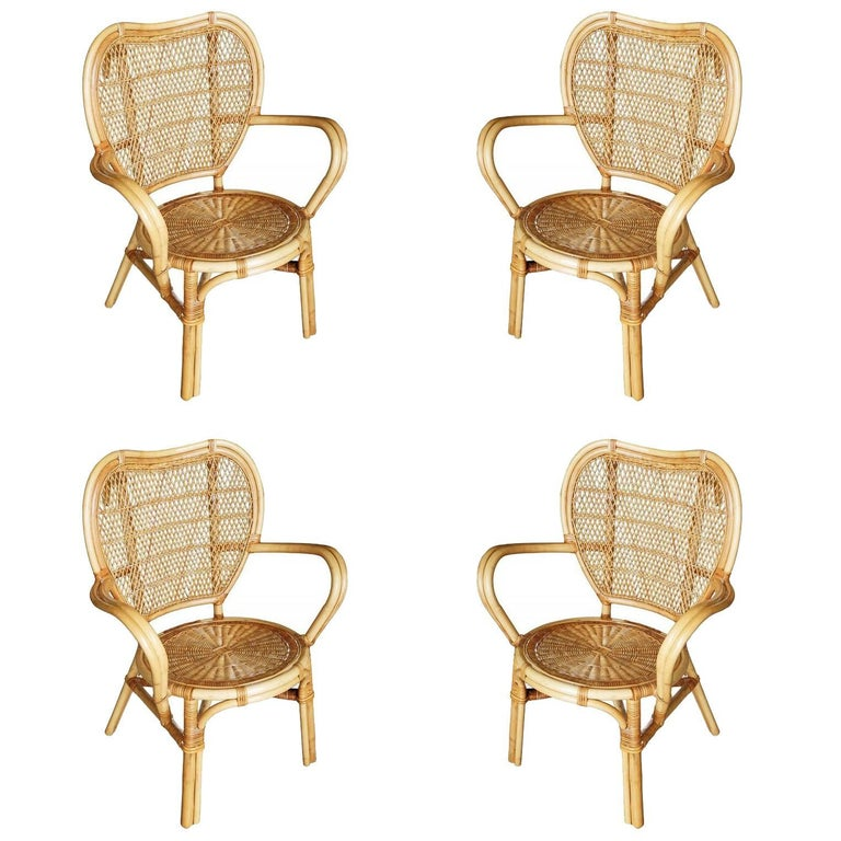 Restored Mid-Century Wicker and Rattan Dining Side Chair, Set of Four