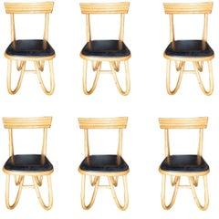 Restored Loop Leg Rattan Dining Side Chair, Set of Six, circa 1950