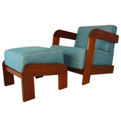 Beautifully Appointed Art Deco Lounge Chair and Ottoman