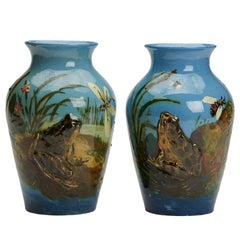 Harold Leach Burmantofts Pair of Barbotine Frog Vases