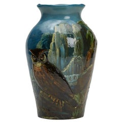 Harold Leach Burmantofts Barbotine Owl Vase
