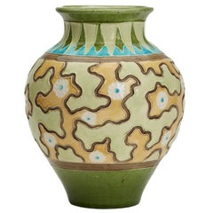 Burmantofts Faience Partie-Color Jig-Saw Pattern Vase