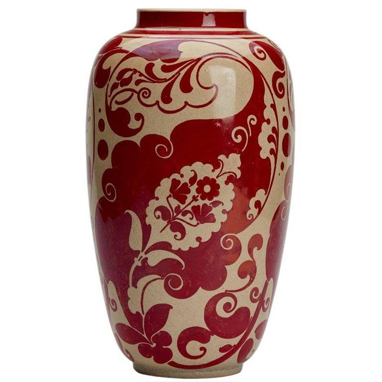 Joseph Walmsley Burmantofts Faience Red Lustre Vase