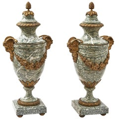 Pair of French Neoclassical Cipollino Marble Cassolettes, circa 1870