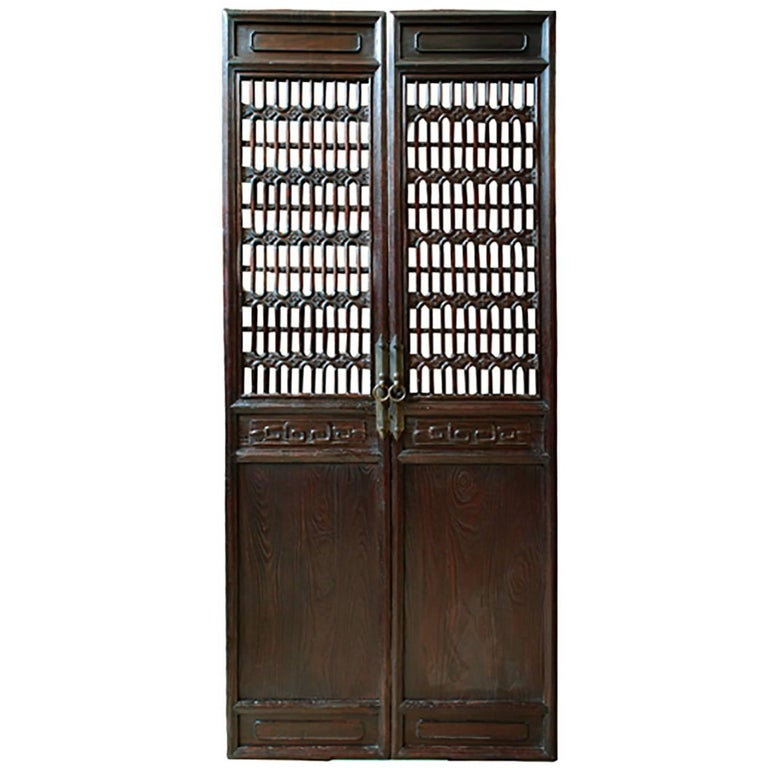 Pair of Chinese Cartouche Clover Lattice Panels For Sale