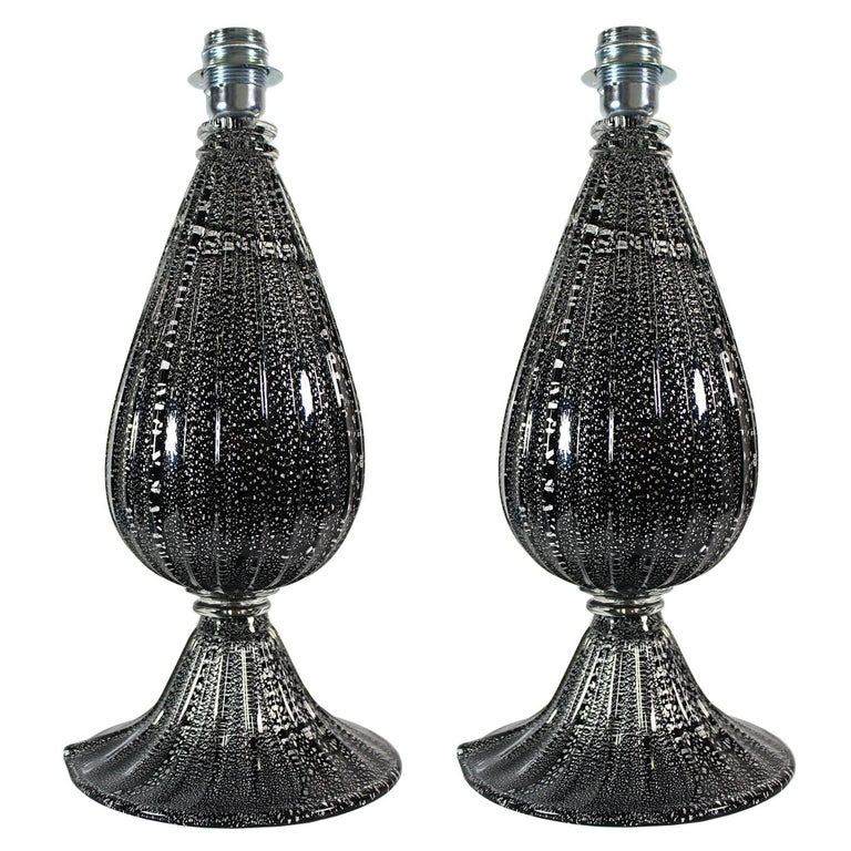 Pair of Contemporary Made in Venice Murano Glass Black and Silver Table Lamps