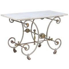 French Iron and Marble-Top Baker's Table with Curly Gilded Legs and Casters