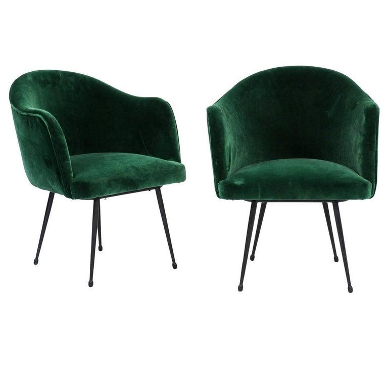 Pair of French Mid-Century Green Velvet Upholstered Tub Armchairs