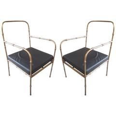 Pair of French Mid-Century Modern Faux Bamboo Armchairs, Style Jacques Adnet