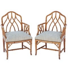 Pair of Gothic Style Fretwork Faux Bamboo Armchairs