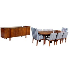 Mid-Century Modern Dining Set Oval Table Three Leafs Eight Chairs & Credenza