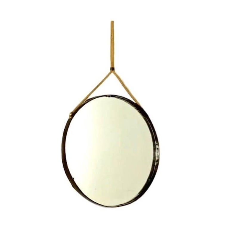 Jacques Adnet Leather and Hemp Mirror