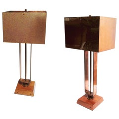 Art Deco Machine Age Copper Table Lamps