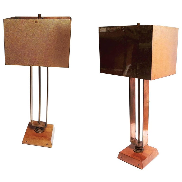 Art Deco Machine Age Copper Table Lamps 1