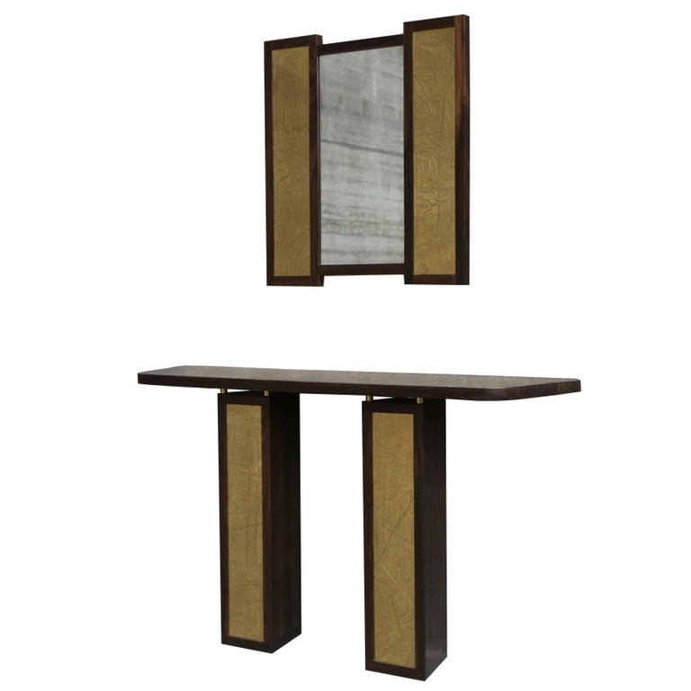 Solid Rosewood and Etched Brass Console and Mirror by Studio Belgali