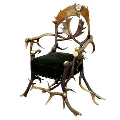 Great Antique Cabin Antler Armchair, Late 19th Century