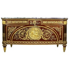 French 19th-20th Century Louis XVI Style Mahogany Ormolu-Mounted Commode