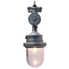 Silver Cast Aluminium Industrial Clear Glass Hanging Lamps (3x)