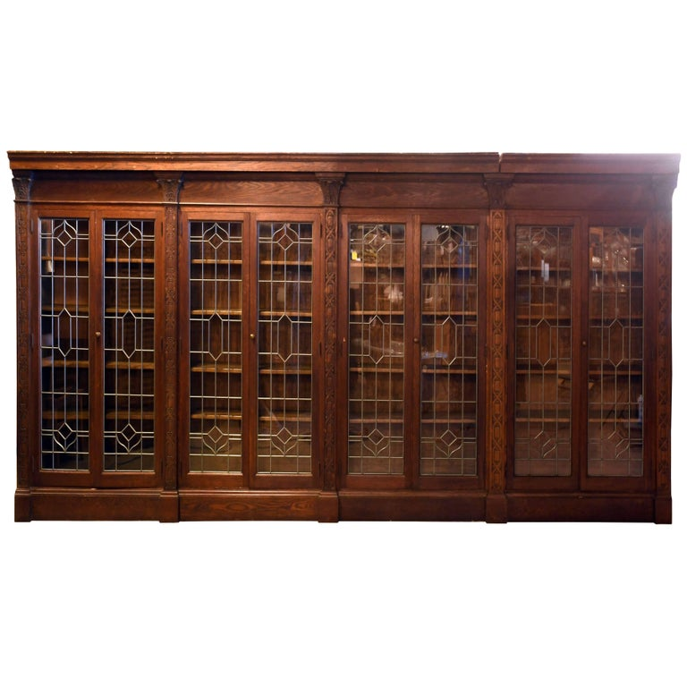 Ornately Carved Oak Bookcase With Leaded Gl Doors For