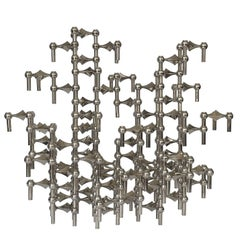 Set of 73-Piece Modular Candlestick Sculpture by Fritz Nagel and Caesar Stoffi