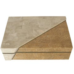 Maitland-Smith Asymmetrical Tessellated Stone Brass Box