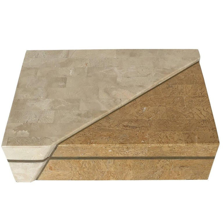 Maitland-Smith Asymmetrical Tessellated Stone Brass Box