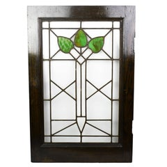 Arts & Crafts Stained Glass Window with Green Leaf Pattern, circa 1915