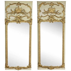 Pair of Louis XV Giltwood and Painted Mirrored Boiserie Panels
