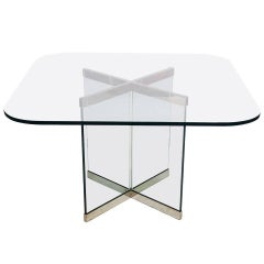 Glass and Chrome Dining Table by Leon Rosen for Pace Collection