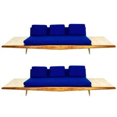 Adrian Pearsall Sofa with Built-In Travertine Side Tables