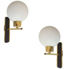 Pair French MidCentury Maison Arlus Glass Mirror Vanity Sconces, 1960s