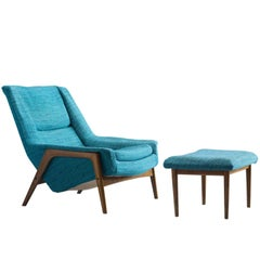 Swedish Petrol Blue Lounge Chair and Ottoman, 1960s