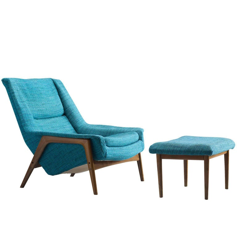 Swedish Petrol Blue Lounge Chair and Ottoman 1960s For Sale at 1stdibs