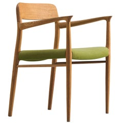 Niels O. Møller Armchair in Oak and Green Upholstery, 1954