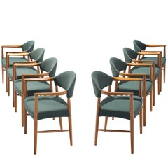 Set of Eight Danish Hunter Green Dining Room Armchairs