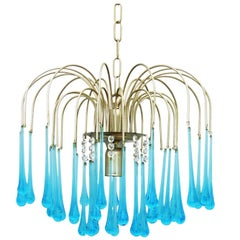 Mid-Century Chandelier by Paolo Venini 1960s Crystal Drops