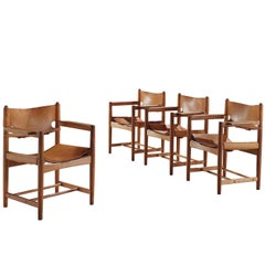 Børge Mogensen Set of Four Armchairs in Oak and Light Cognac Leather