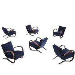 Jindrich Halabala Lounge Chairs in Navy Blue Velvet