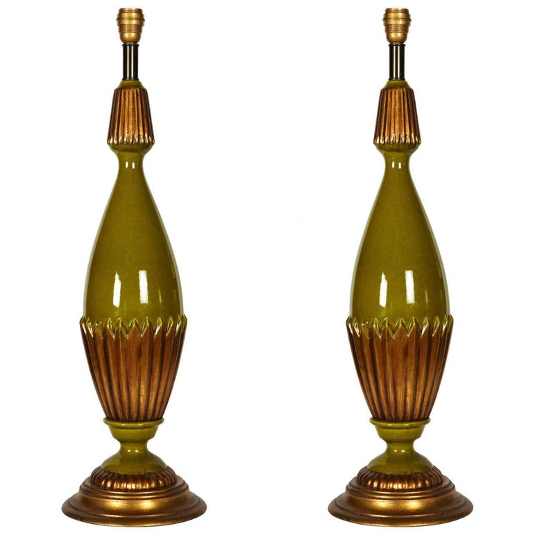 Huge Green and Gold Ceramic Lamps