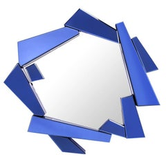 Mirror Glass Kolea Blue with Frame in Blue Colored Mirror Glass