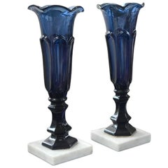 Pair of Sandwich Glass Vases on Marble Bases, circa 1860
