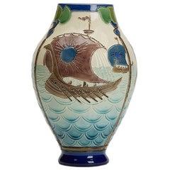 Joseph Walmsey Burmantofts Faience Longboats Vase